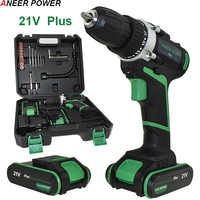 21v Plus Power Tools Electric Drill Drilling Battery Screwdriver Drill 2pcs Batteries Cordless Drill Mini Electric Screwdriver