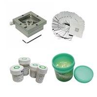90X90 milímetros luminárias com kit Reballing Stencil bga retrabalho estação de esferas de solda flux repair tool