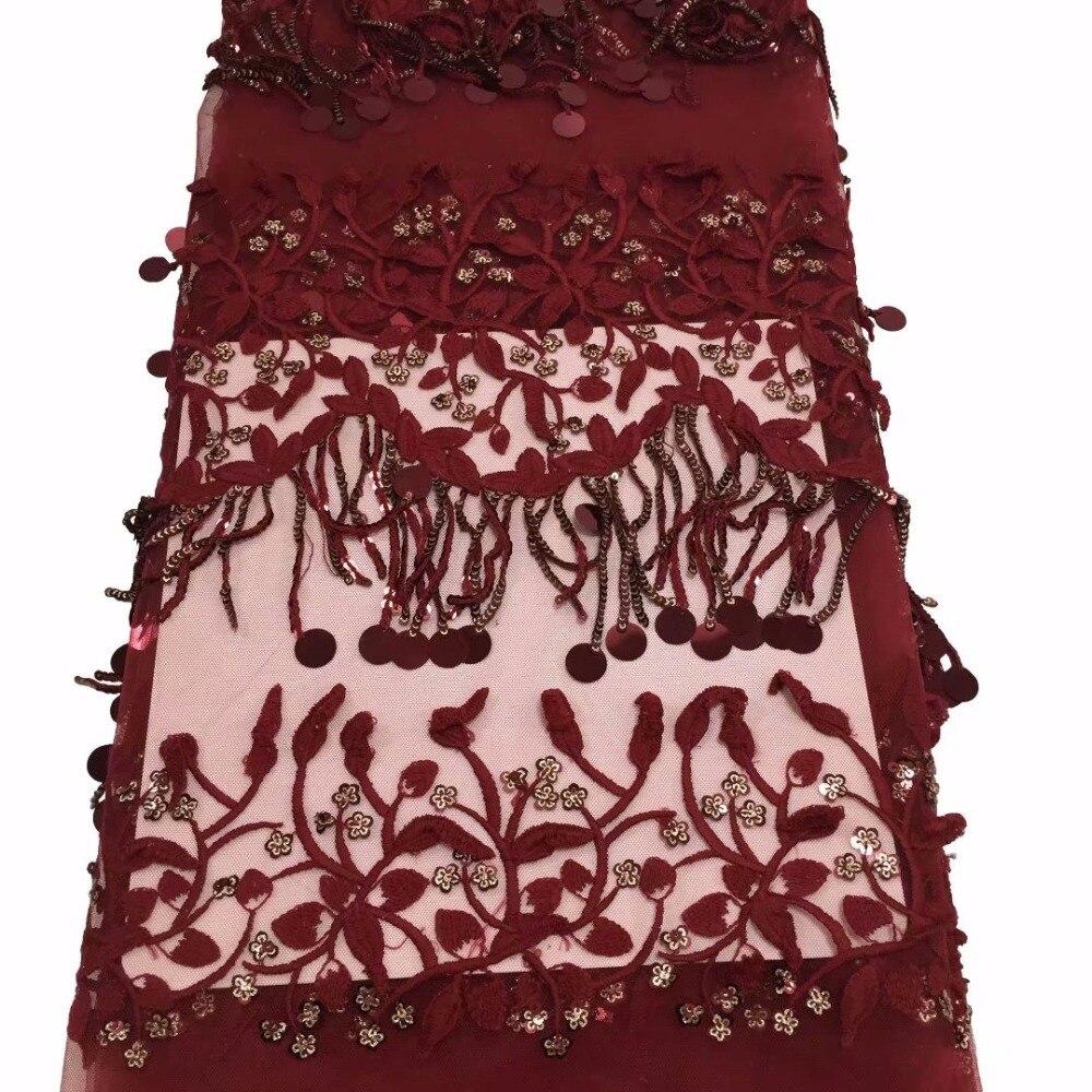 Tissu de dentelle Net africain rouge de haute qualité pour robe de mariée avec des paillettes gland brodé 3D appliques maille dentelle tissus YYZ0352-in Dentelle from Maison & Animalerie    1
