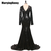 Elegant Long Sleeve Sequined Mermaid Evning Dresses 2017 Black Dubai Arabic Robe De Soiree Formal Dress