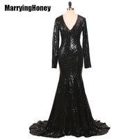 Elegant Long Sleeve Sequined Mermaid Evning Dresses 2017 Black Dubai Arabic Robe De Soiree Formal Dress