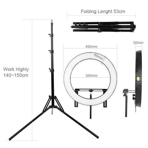 FALCON OCCHI 512 Anello LED Pannello 31 w 3000-5600 k Illuminazione Video Film Luce Continua con 180 cm luce Del Basamento DVR-512DVC Nero CD50