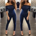 Fashion women rompers 2016 new Arrivals Autumn And Winter sexy blue short sleeve slash neck backless skinny denim jumpsuit