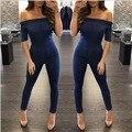 Moda de las mujeres de los mamelucos 2016 nuevas Llegadas Del Otoño Y el Invierno sexy azul cuello barra de manga corta backless flaco denim jumpsuit