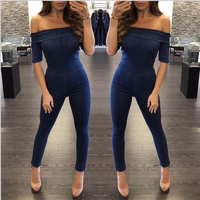 Mulheres moda macacão 2016 novo Chegadas Outono E Inverno sexy azul de manga curta de slash neck backless magro macacão jeans