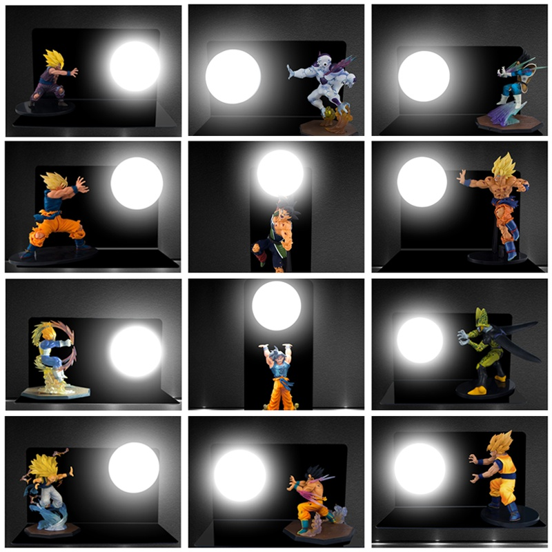 HENYNET Dragon Ball Son Goku Vegeta Gohan Figure LED Night Lights Strength Bombs Table Lamp Luminaria Room Decorative Lighting