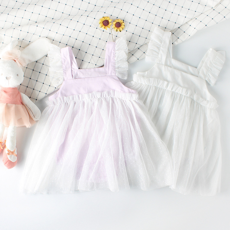 Cute Newborn Baby Girl Clothing Fly Sleeve Cotton Baby Rompers Princess Mesh Dress Girls Jumpsuit Toddle Clothes Infant Costumes