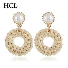 Bohemian Handmade Earrings Rattan Weave Drop For Women Wood Straw Dangle Party Jewelry Boucle Doreille Femme