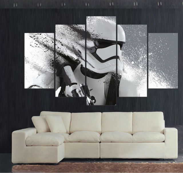 5 Panel HD Printed Painting Stormtrooper Star Wars Movie Poster Canvas Art Home Decor Wall Pictures For Living Room F0545