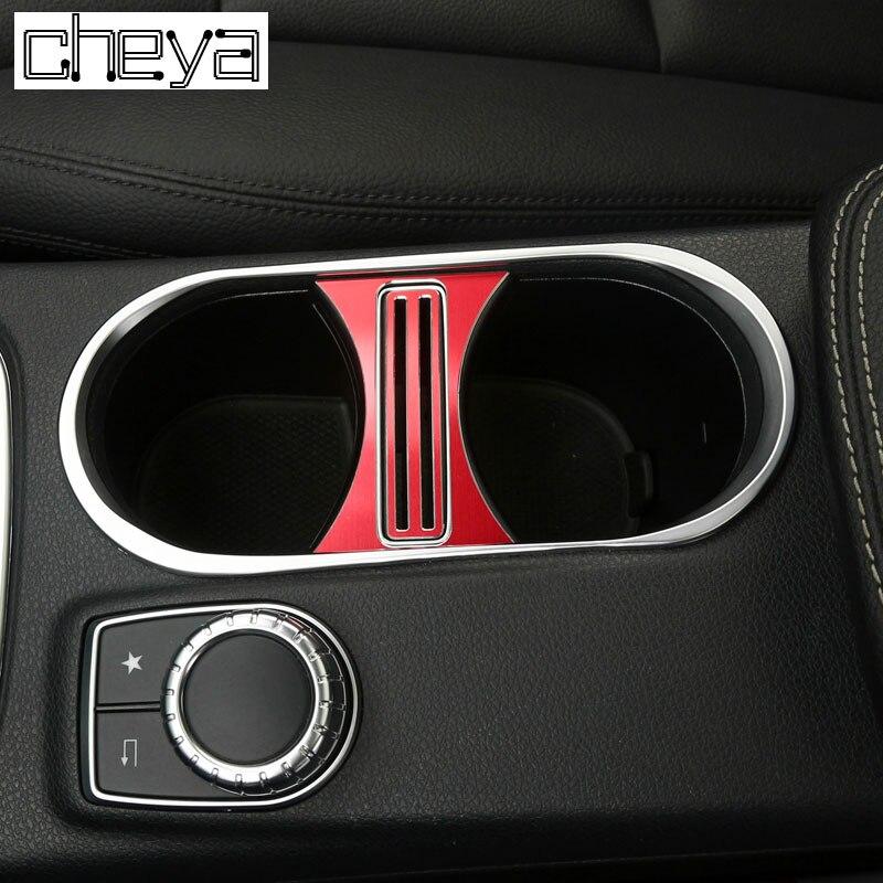 Para Mercedes Benz CLA 200 260 GLA UMA Classe Car Styling Acessórios Liga de Alumínio Suporte de Copo Tampa Guarnição Quadro Adesivos NOVA
