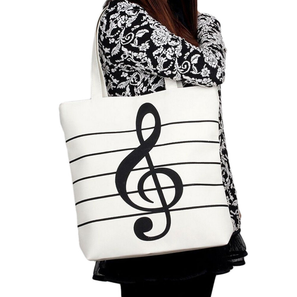 1PCS Fashion Shoulder Casual Tote Shoulder Bags Casual Canvas Music Notes Handbag School Satchel Tote Shopping Bag