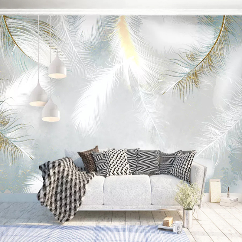 Custom 3D Photo Wallpaper Modern Hand Painted Watercolour Feather Mural Wall Papers Home Decor Living Room Bedroom Wall Painting