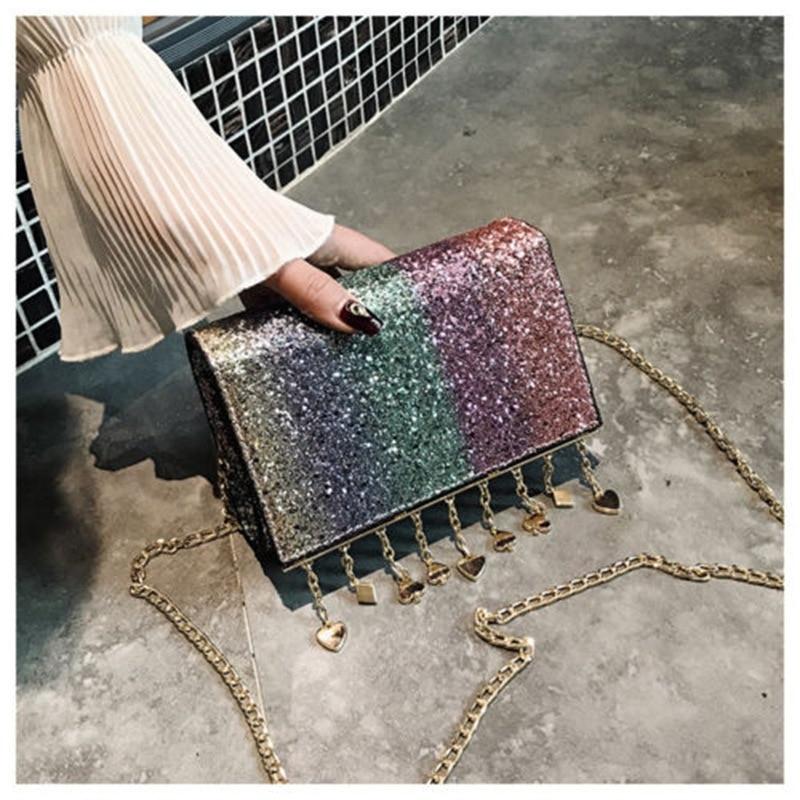 Women Ladies Bling Bling Glitter Purse Chain Handbag Shoulder Bag Evening Bag Clutch Gifts