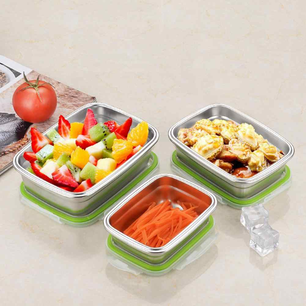 Stainless Steel Preservation Box Rectangular Lunch Box Bento Box Leakproof Fresh-care Portable Picnic School Food Box