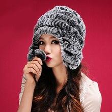 Натуральный мех кролика рекс шапка, кроличий мех вязаная крышка шляпы уши* CPA SU-14034