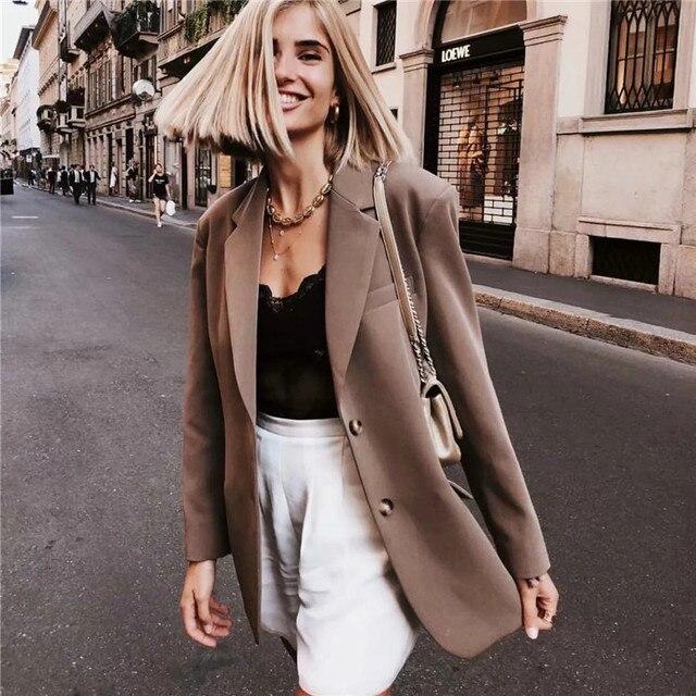 7e80743e546 Women Linen Blends Vintage Padded Shoulder Midi Khaki Blazer Trench Coat