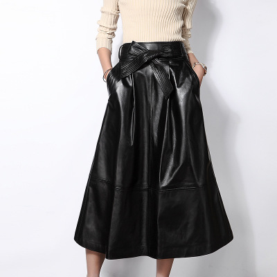 2019 New Fashion Genuine Sheep Leather Skirt E39 in Skirts from Women 39 s Clothing