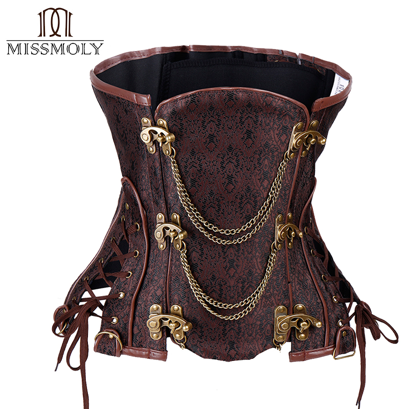 Women   Corset   Underbust Steampunk Corselet Gothic Waist Trainer Cincher Slimming Body Shaper   Corsets   and   bustiers   S-2XL #0014