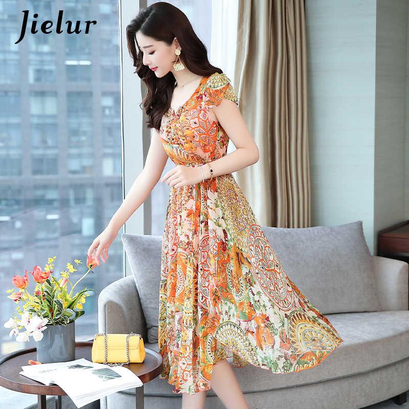 a0a2b03c3b720 Jielur Woman Dress Chiffon Fashion Korean Style Short Sleeve Dresses Yellow  Floral Print Plus Size Vestidos V-neck Summer Dress