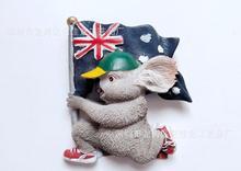 Australian koala flag featuring tourist souvenir refrigerator stickers