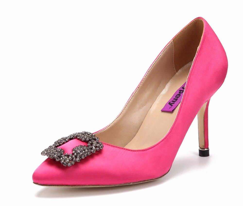 ФОТО Katypeny 2017 Spring Newest Fashion Stain Silk Rhinestones Party Dress Shoes Woman High Quality Heels Pumps Ladies Stiletto