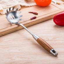 Премиум SUS 304+ деревянная ручка Паста Лапша вермичелли спагетти Совок вилка коготь термостойкая кухонная утварь