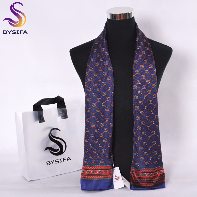 Silk Scarves Neck-Scarf Navy-Blue Business Male Winter Fashion New-Design Dot BYSIFA