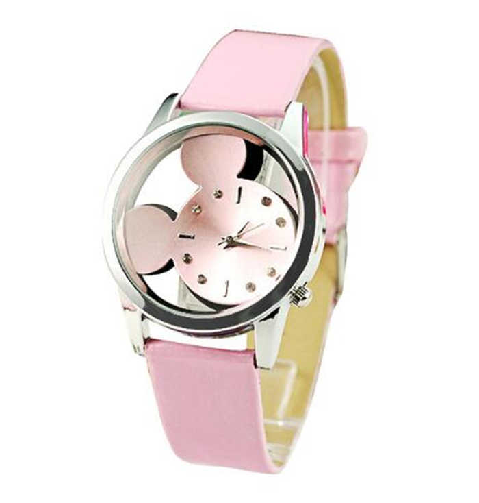 Hot Sell Cartoon Kids Children Boy Wrist Watch Leather Transparent Dial Sports Watch B51