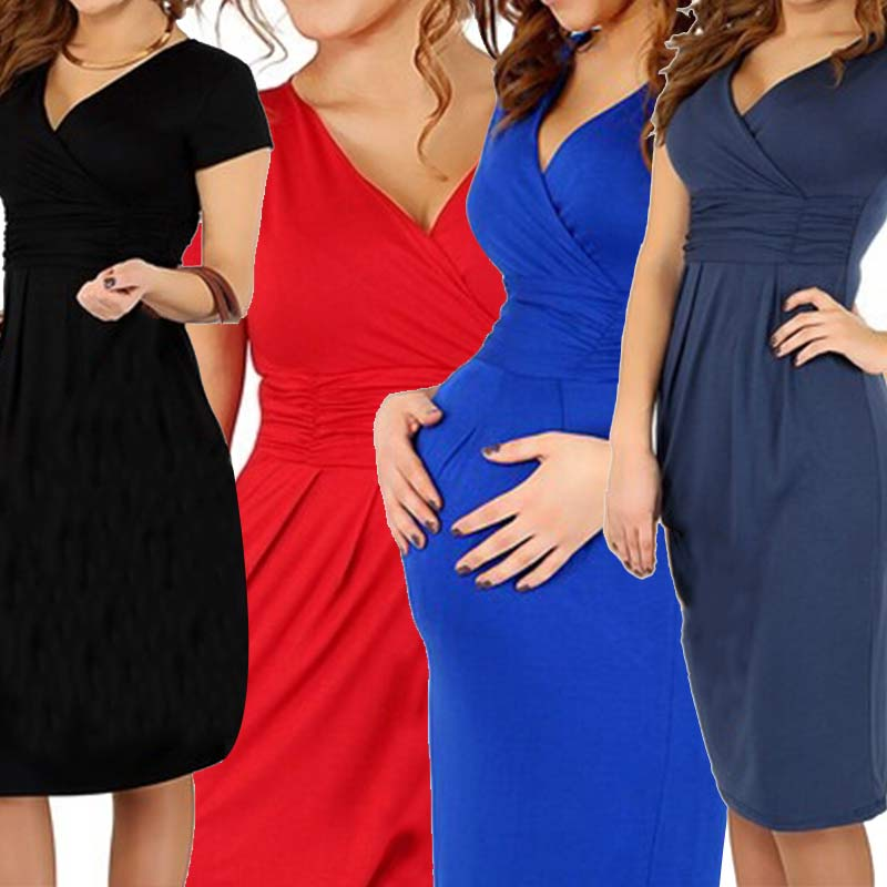 Fashion Maternity Clothes V-neck Short Sleeve Cotton Pregnancy Dress Summer Elastic Waist Dresses 88 88 S7JN