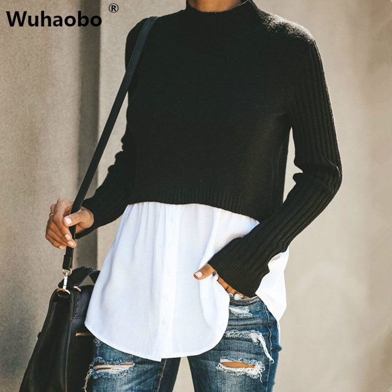 Wuhaobo Autumn Hot Pop Patchwork Sweater Women Fashion Winter Tops Long Sleeve Buttons New Pattern Pullovers Streetwear