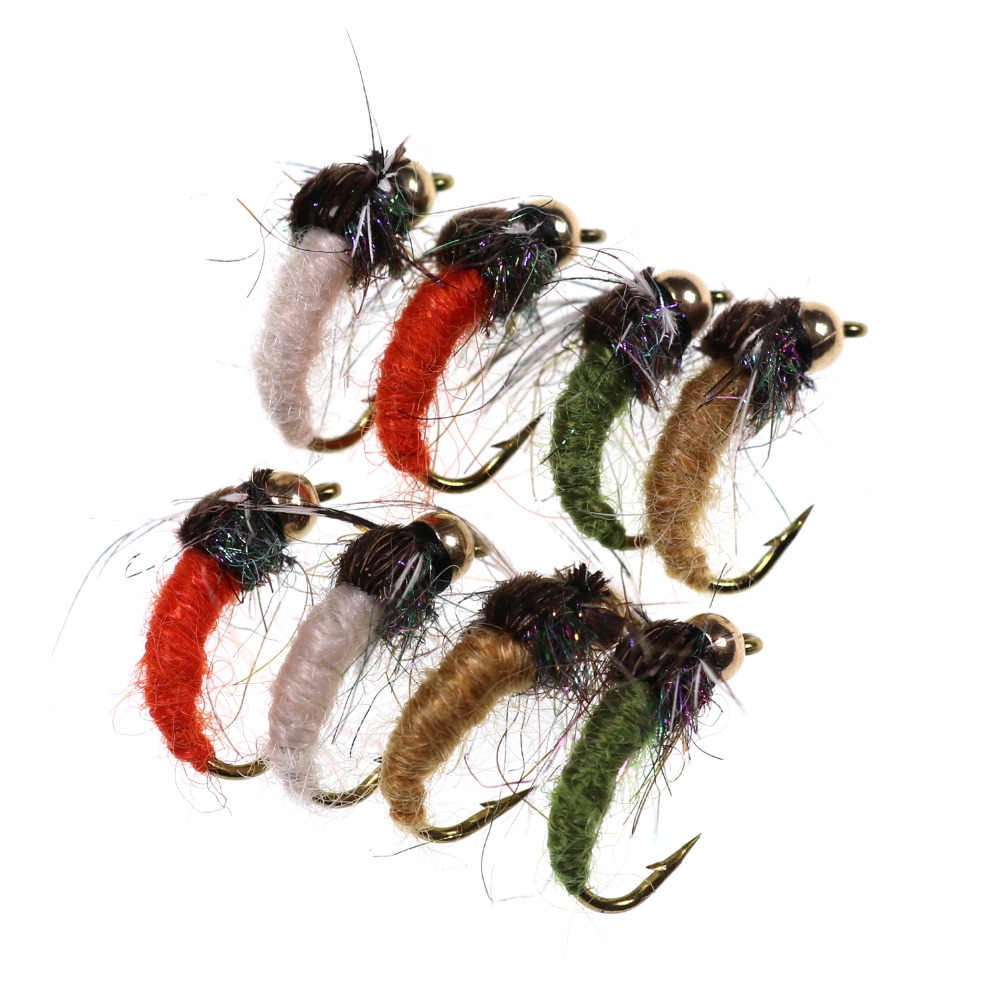 Brass Bead Head Caddis Nymph Fly For Fly Fishing Trout Pan Fish Artificial Insect Lure Bait For Fishing 8PCS #12