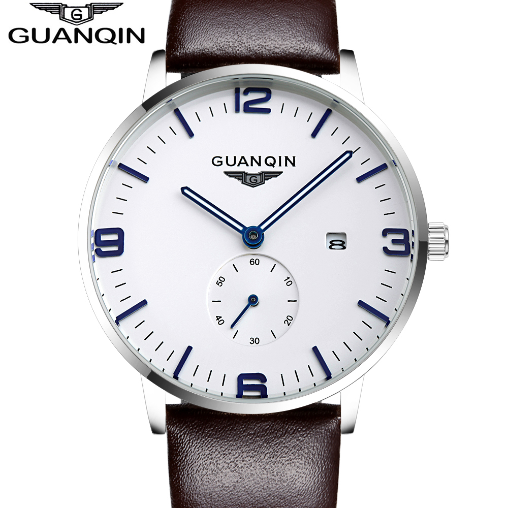 GUANQIN watches fashion waterproof mens watch leather strap male fashion the trend of commercial table sports quartz watch настенный светильник crystal lux charme ap2 2 led chrome transparent