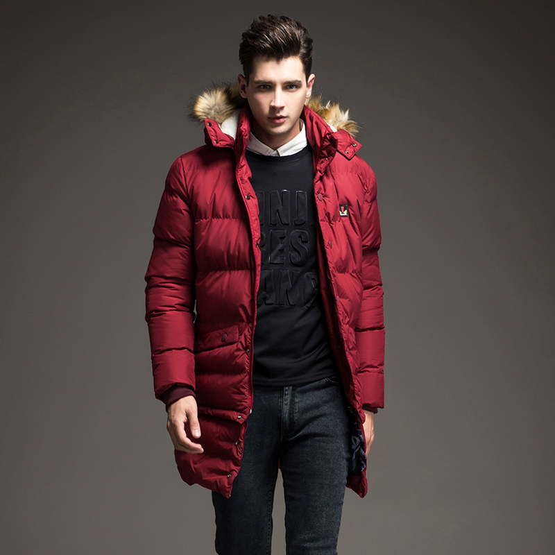 ФОТО  Winter Brand 2017 new Men Down Jacket Coats Long Coats Dress Jackets Western Style Overcoats Thick Warm Duck Down Parkas