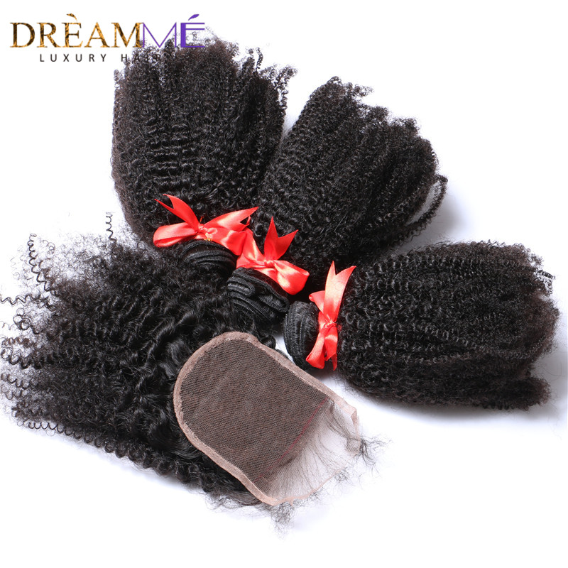 Brazilian Afro Kinky Curly Hair 3 Bundles With Lace Closure 100 Human Hair Bundles With Closure