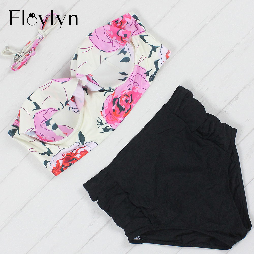 Floylyn New Bikinis Women Swimsuit High Waist Bathing Suit Plus Size Swimwear Push Up Bikini Set Vintage Retro Beach Wear 4XL цена