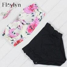 Floylyn New Bikinis Women Swimsuit High Waist Bathing Suit Plus Size Swimwear Push Up Bikini Set Vintage Retro Beach Wear 4XL