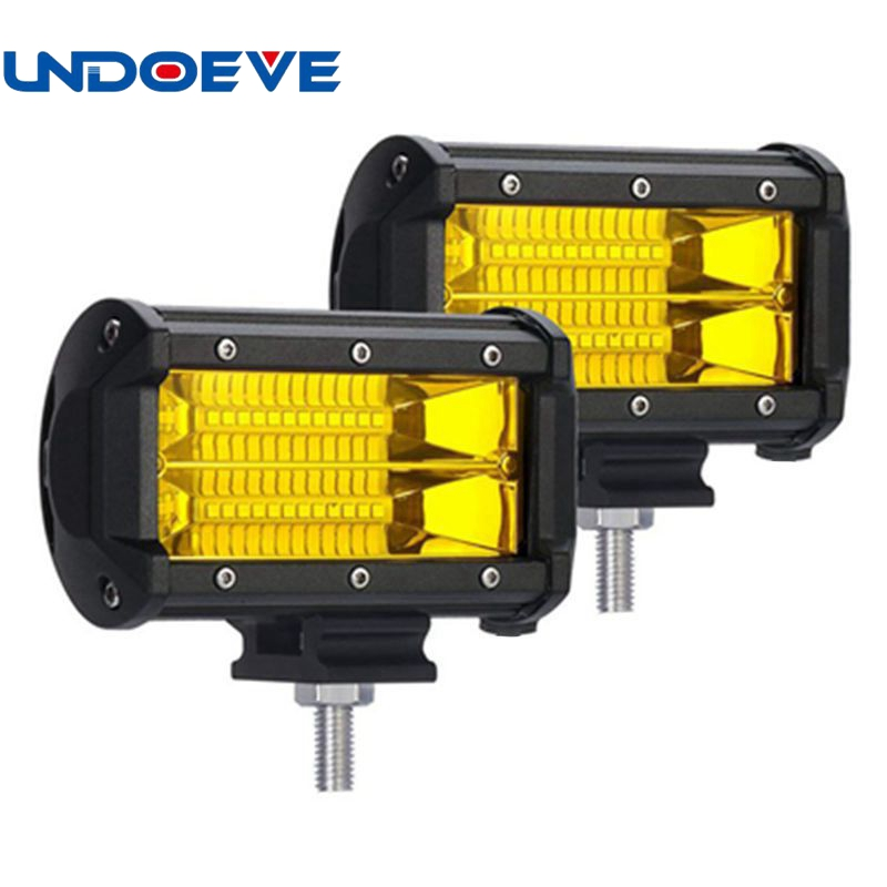 "5/"" 72W Yellow 24 LED Pickup Off-Road Work Light Bar Flood Beam Fog Driving Lamp"