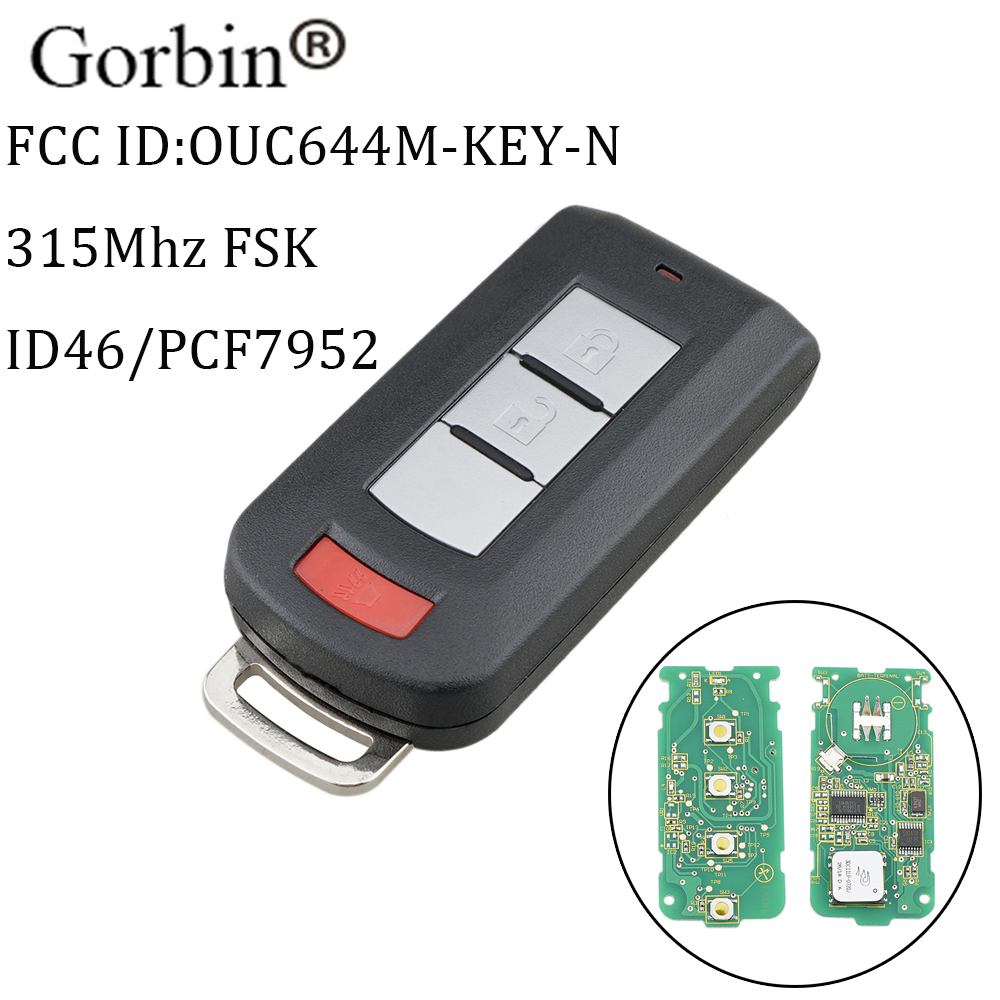 GORBIN 2+1Buttons Remote key For Mitsubishi OUC644M KEY N 315MHz PCF7952 Chip For Mitsubishi Outlander Outlander Sport 2011 2018