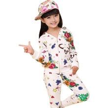2015 Весна девушки мультфильм печатных граффити с капюшоном спортивный костюм дети детская одежда одежда набор девочек одежда
