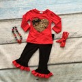 Valentine's day baby girls Spring outfit suit red leopard love heart top kids cotton ruffles clothes with matching acessories