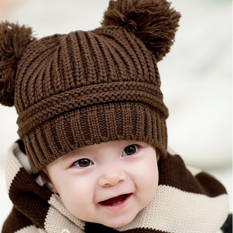 Hot Sale Baby Hats Cute Winter Warm Newborn Knitted Caps Boys Girls Toddler Hat Crochet Beanie Hairball Ear Baby Hat Kids Caps