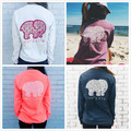 Brand new 2016 verão clothing t animal print elefante marfim ella t-shirt das mulheres t camisa solta de manga longa harajuku tops