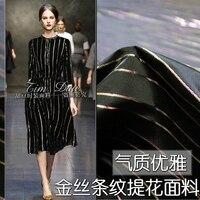 Black and white elegant gold stripes jacquard fabric autumn and winter upscale dress dyed clothing 2018 fashion fabrics