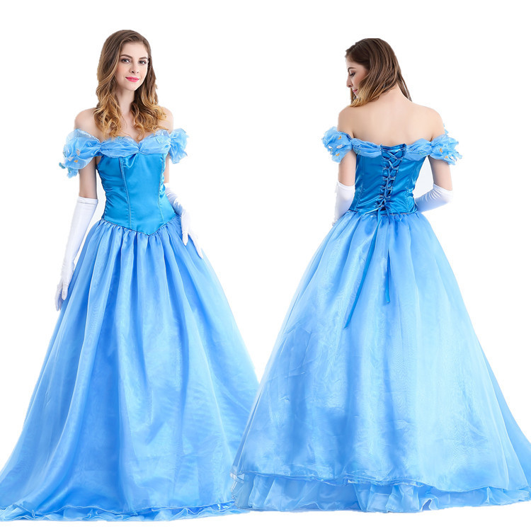 eb0e41da7651 2019 Deluxe Adult Cinderella Costume Women Fancy Dress Blue Ball Gown  Halloween Princess Costume Role Play Carnival Sexy Party