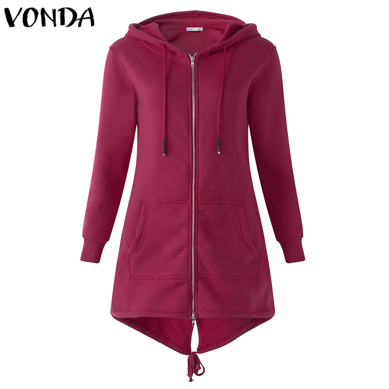 Fashion Hoodies Women Autumn Winter Coat 2019 Solid Zip Up Sweatshirt Hooded Long Sleeve Casual Long Outwear Back Split Hem Tops