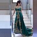 2017 de Alta Qualidade verde Escuro Vestido de Noite Muçulmano Do Vintage Dourada Appliuques Rendas Longo Vestido De Festa Vestidos de Noite Formal