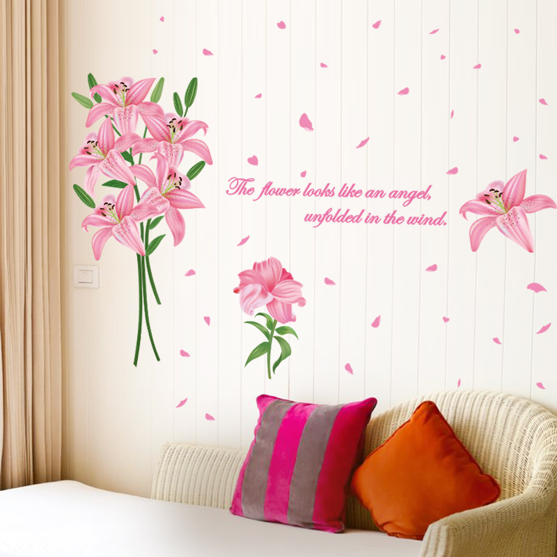 shijuehezi pink color lily flowers wall sticker pvc material plant