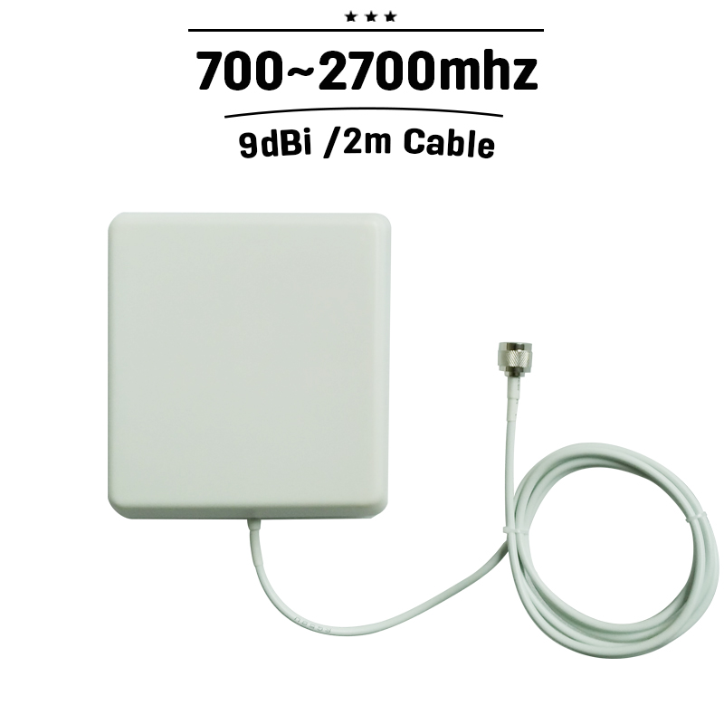 Indoor Panel Antenna GSM 3G 4G N Connector 700~2700MHz 9dBi With 2m Cable For Mobile Phone Signal Booster#27