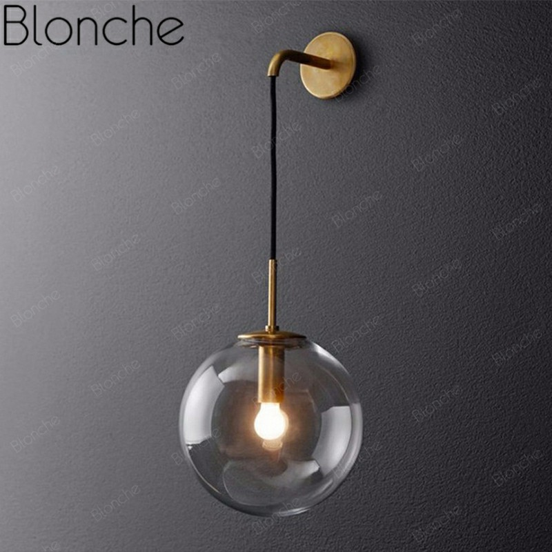 Retro Glass Ball Wall Lamp Vintage Metal Wall Sconce Loft Lighting for Home Living Room Bedroom Kitchen Decor Industrial Fixture|LED Indoor Wall Lamps|Lights & Lighting - title=