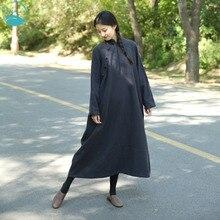 LinenAll dress dark blue,original design 2016 100% linen vintage Chinese style Cheongsam improved linen one-piece dress robe zi